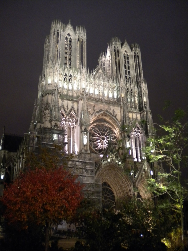 Reims Cathedral at night
